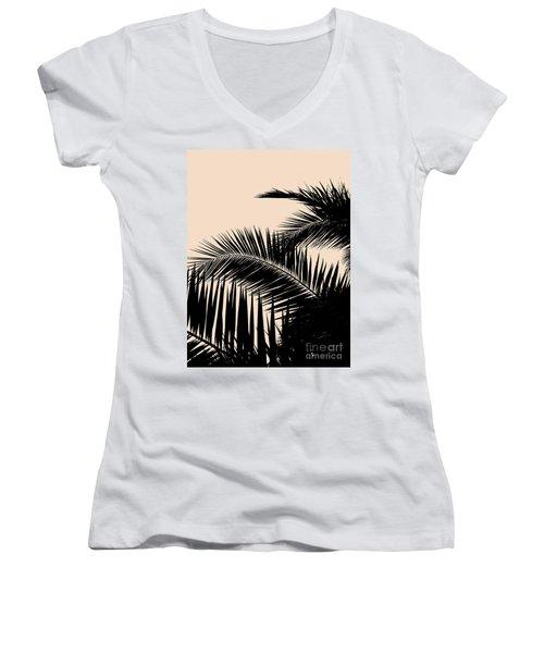 Palms On Pale Pink Women's V-Neck