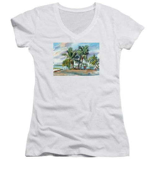 Palms On Sanibel Women's V-Neck T-Shirt (Junior Cut) by Donald Maier