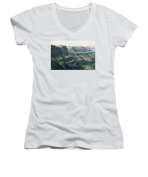Palouse River Canyon Buttes Women's V-Neck (Athletic Fit)