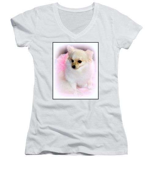 Pampered Pomeranian  Women's V-Neck T-Shirt
