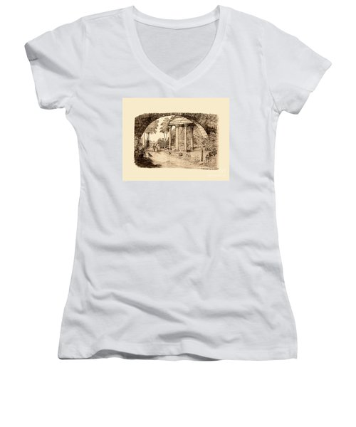 Pan Looking Upon Ruins Women's V-Neck
