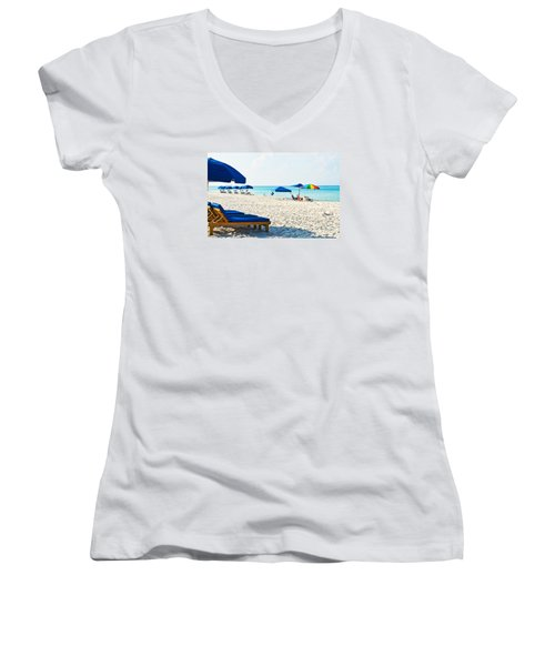Panama City Beach Florida With Beach Chairs And Umbrellas Women's V-Neck T-Shirt (Junior Cut) by Vizual Studio