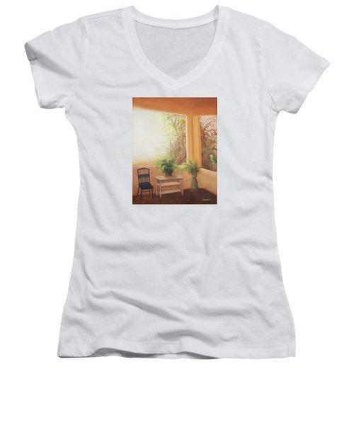 Pancho Come Home Women's V-Neck T-Shirt (Junior Cut) by Irene Corey