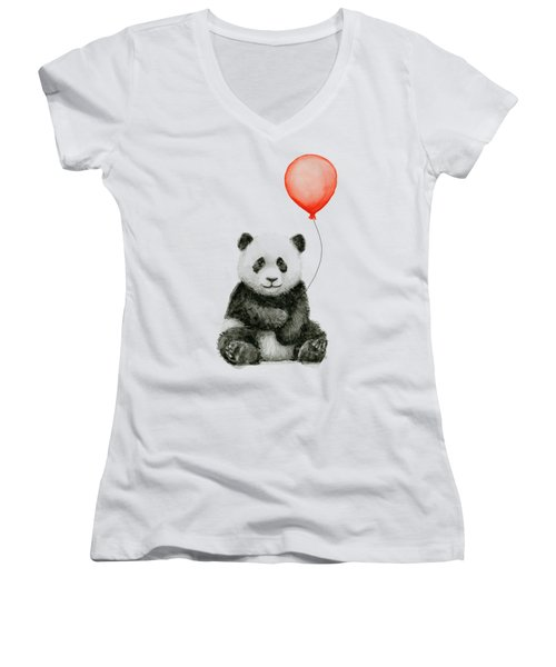 Panda Baby And Red Balloon Nursery Animals Decor Women's V-Neck (Athletic Fit)