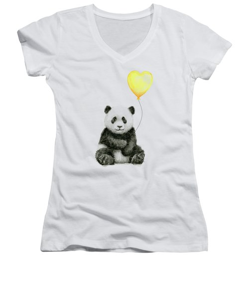 Panda Baby With Yellow Balloon Women's V-Neck (Athletic Fit)