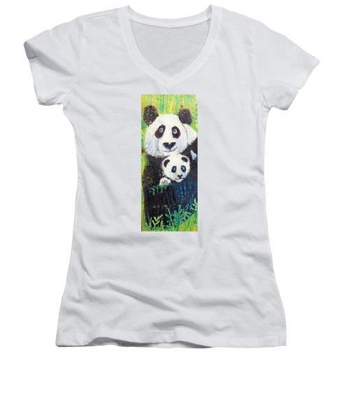 Panda Mother And Cub Women's V-Neck T-Shirt (Junior Cut) by Ann Michelle Swadener