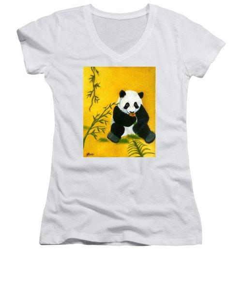 Panda Power Women's V-Neck T-Shirt