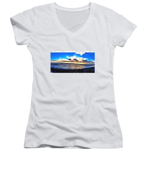 Panorama If College Beach. #beach Women's V-Neck