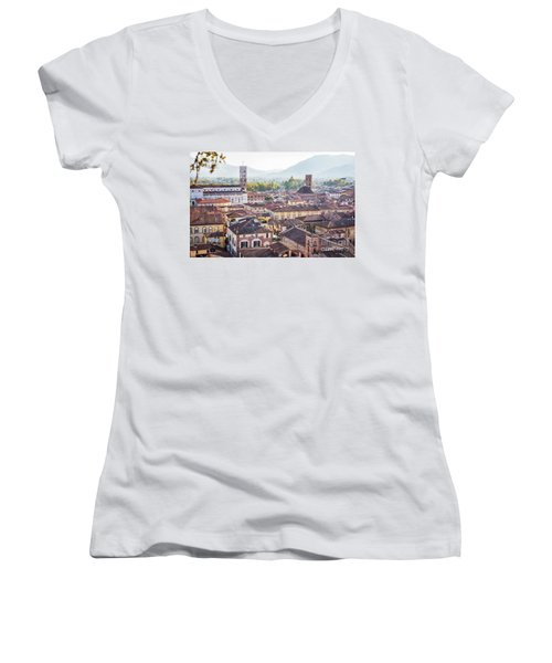 panorama of old town Lucca, Italy Women's V-Neck