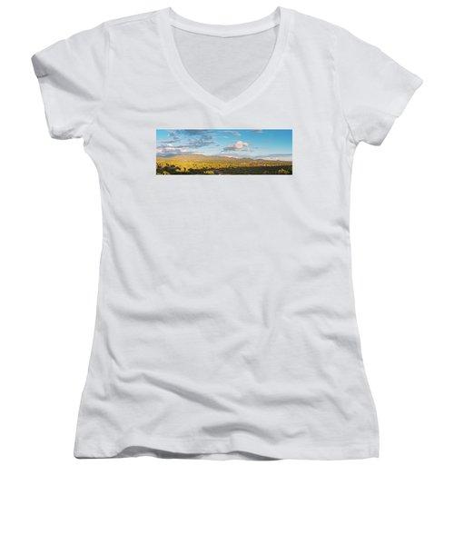 Panorama Of Santa Fe And Sangre De Cristo Mountains - New Mexico Land Of Enchantment Women's V-Neck