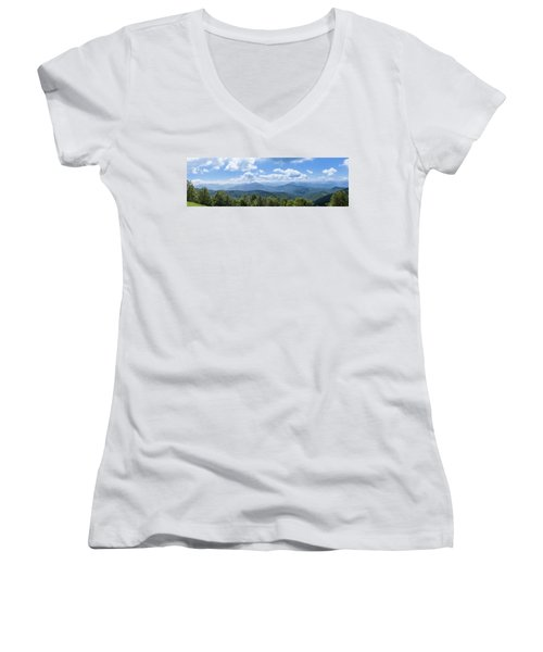 Panorama Of The Foothills Of The Pyrenees In Biert Women's V-Neck T-Shirt