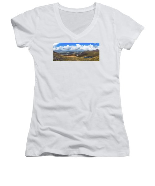 Women's V-Neck T-Shirt (Junior Cut) featuring the photograph Panorama Of Valleys And Mountains In County Kerry On A Summer Da by Semmick Photo