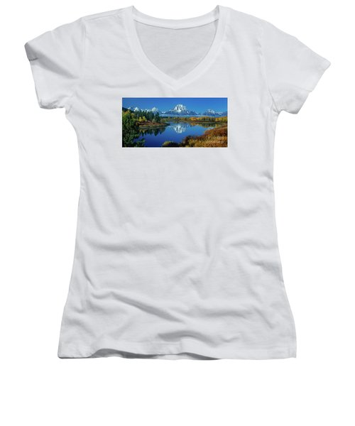 Panorama Oxbow Bend Grand Tetons National Park Wyoming Women's V-Neck (Athletic Fit)