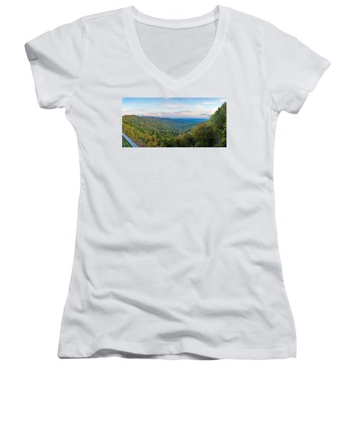 Panoramic October Views Of Smokey Mountain National Park Women's V-Neck
