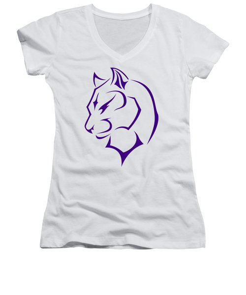 Panther Women's V-Neck T-Shirt (Junior Cut) by Frederick Holiday