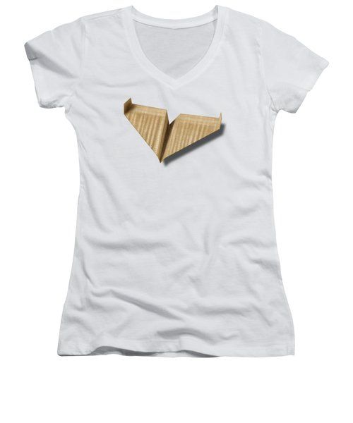 Paper Airplanes Of Wood 8 Women's V-Neck T-Shirt (Junior Cut) by YoPedro
