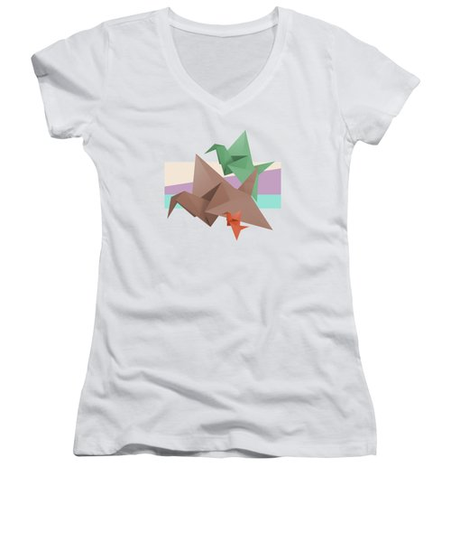 Paper Cranes Women's V-Neck (Athletic Fit)
