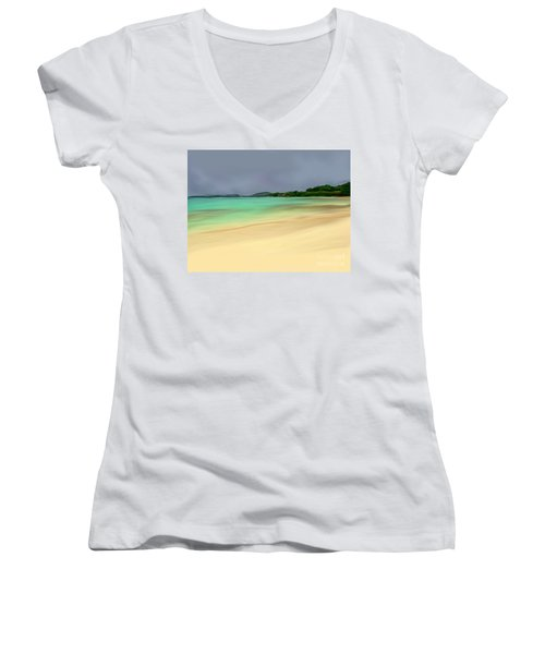 Women's V-Neck T-Shirt (Junior Cut) featuring the digital art Paradise by Anthony Fishburne