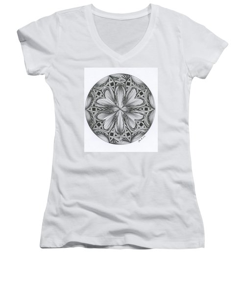 Paradoxical Zendala Women's V-Neck T-Shirt (Junior Cut) by Jan Steinle