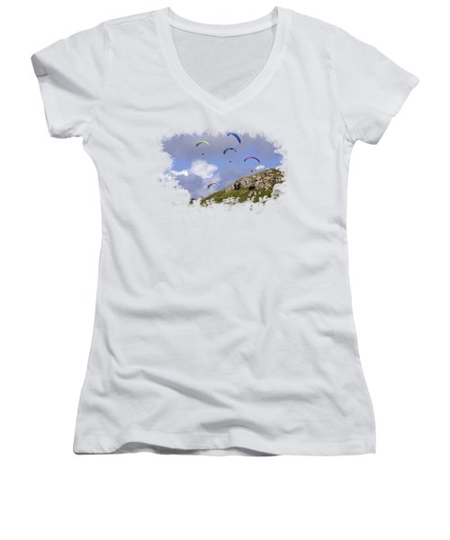 Paragliding Over Sennen Cove On Transparent Background Women's V-Neck T-Shirt
