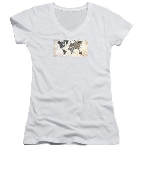 Parchment World Map Women's V-Neck T-Shirt (Junior Cut) by Douglas Pittman