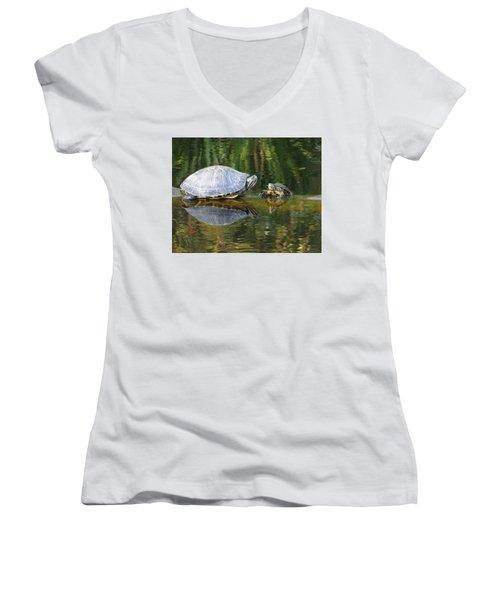Parental Advice Women's V-Neck T-Shirt (Junior Cut) by Cindy Croal