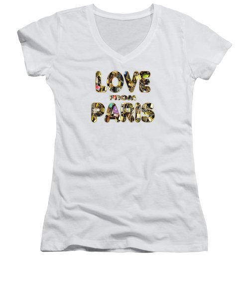 Paris City Of Love And Lovelocks Women's V-Neck