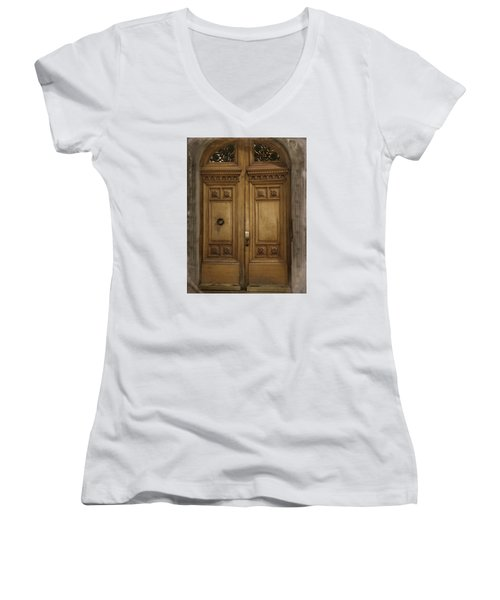 Women's V-Neck T-Shirt (Junior Cut) featuring the photograph Paris Doorway by Katie Wing Vigil