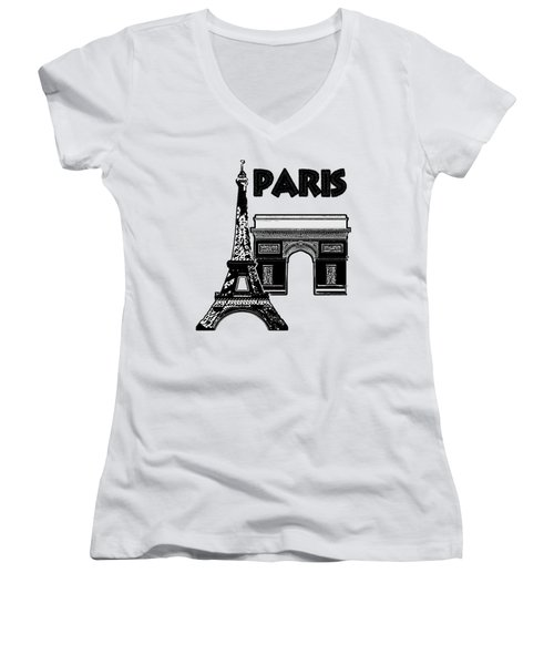 Paris Graphique Women's V-Neck T-Shirt (Junior Cut) by Pharris Art