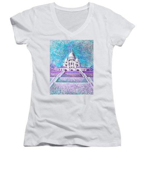 Women's V-Neck T-Shirt featuring the mixed media Paris II by Elizabeth Lock