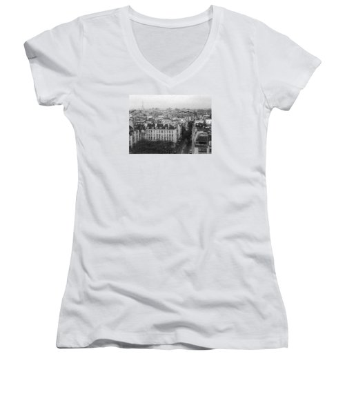 Paris In The Rain  Women's V-Neck T-Shirt (Junior Cut) by Dubi Roman