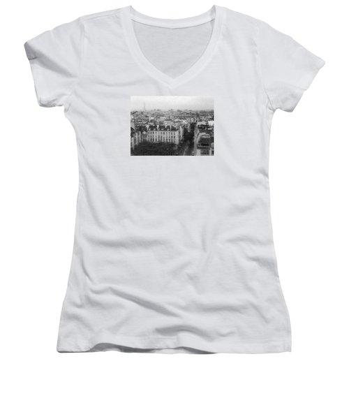 Paris In The Rain  Women's V-Neck T-Shirt