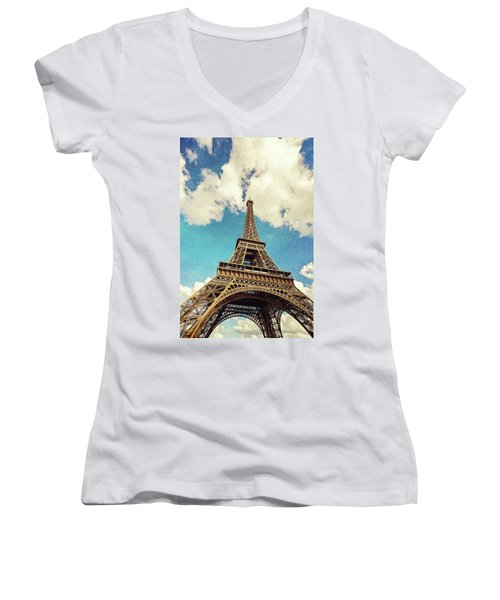 Paris Photography - Eiffel Tower Women's V-Neck (Athletic Fit)