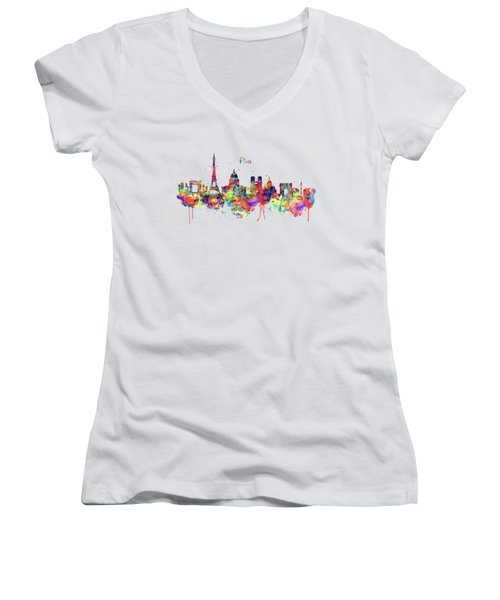 Paris Skyline 2 Women's V-Neck (Athletic Fit)