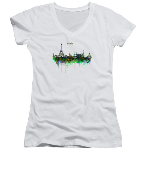 Paris Skyline Watercolor Women's V-Neck T-Shirt (Junior Cut) by Marian Voicu