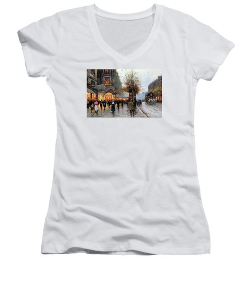 Paris Street Scene Women's V-Neck