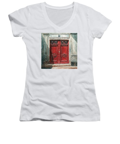 Parisian Door No.9 Women's V-Neck T-Shirt (Junior Cut) by Joey Agbayani