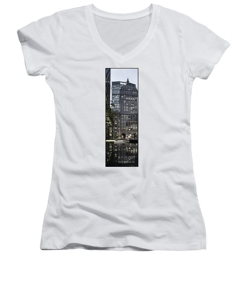 Women's V-Neck featuring the photograph Park Avenue Met Life Nyc by Juergen Held