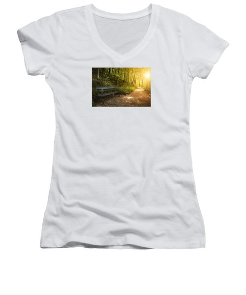 Women's V-Neck T-Shirt (Junior Cut) featuring the photograph Park Bench In Fall by Chevy Fleet
