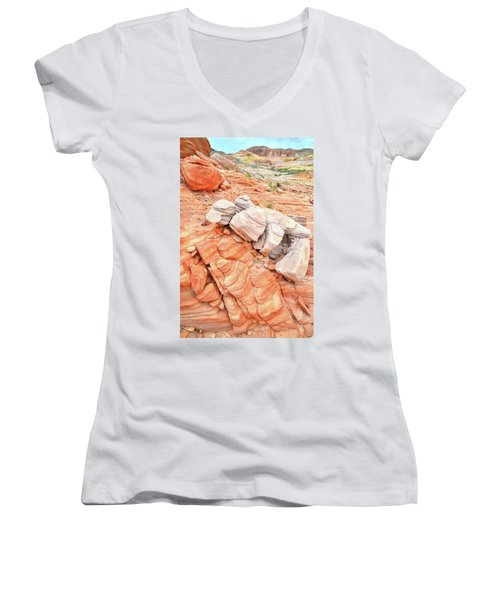Women's V-Neck T-Shirt (Junior Cut) featuring the photograph Park Road Sandstone In Valley Of Fire by Ray Mathis