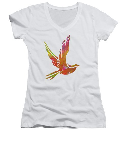 Part Of Peace Dove Women's V-Neck T-Shirt (Junior Cut) by Priscilla Wolfe