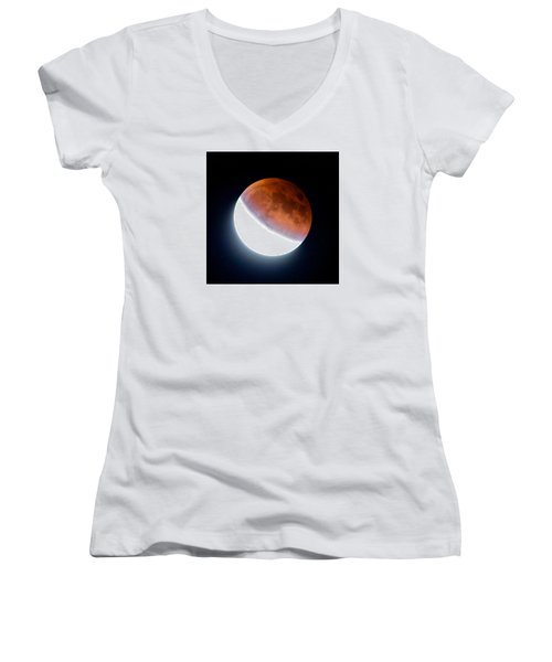 Women's V-Neck T-Shirt (Junior Cut) featuring the photograph Partial Super Moon Lunar Eclipse by Todd Kreuter