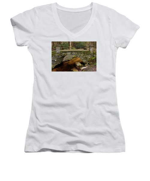 Women's V-Neck T-Shirt (Junior Cut) featuring the photograph Passing Over Many Years by Mike Eingle
