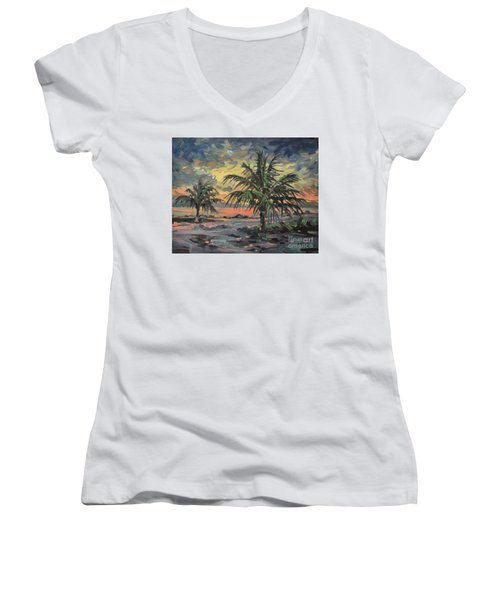 Passing Storm Women's V-Neck T-Shirt (Junior Cut) by Donald Maier