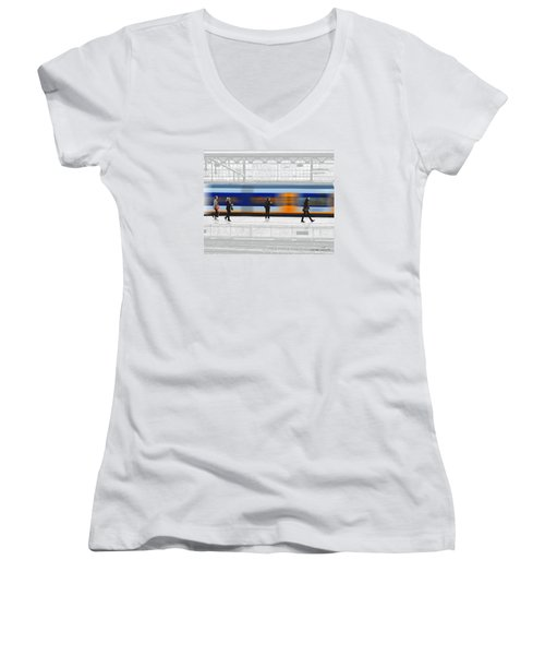 Passing Train Women's V-Neck T-Shirt (Junior Cut) by Pedro L Gili
