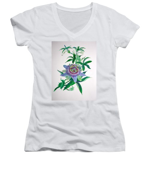 Passion Flower Women's V-Neck T-Shirt (Junior Cut) by Tracey Harrington-Simpson