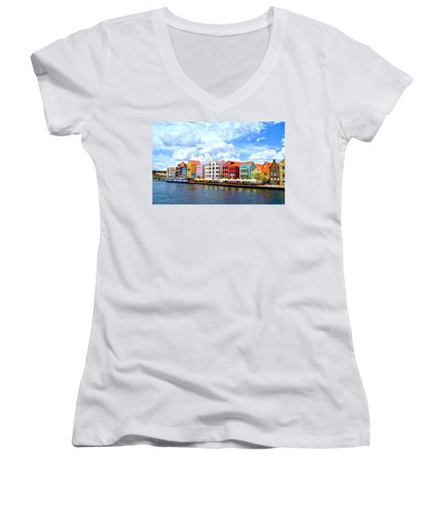 Pastel Building Coastline Of Caribbean Women's V-Neck T-Shirt (Junior Cut) by Amy McDaniel