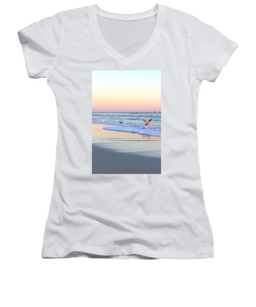 Pastels On Water Women's V-Neck T-Shirt