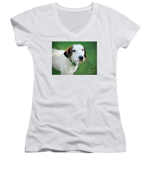 Women's V-Neck T-Shirt (Junior Cut) featuring the photograph ''patch'' by Marion Johnson