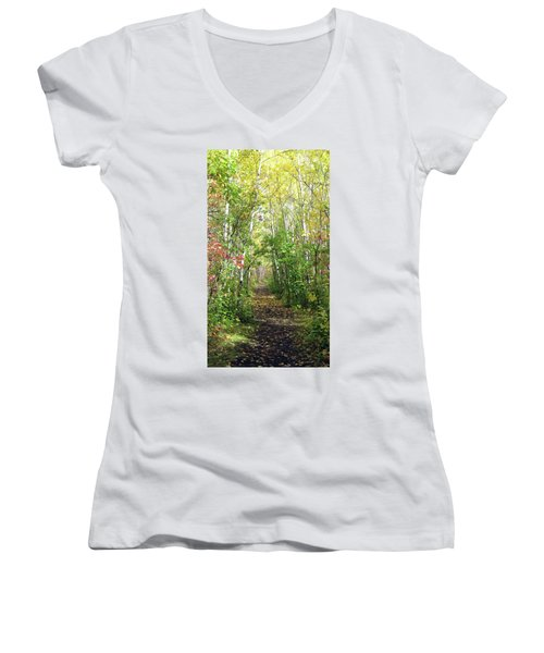 Path In The Woods 3 Women's V-Neck
